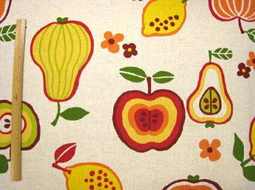 salon du fruit 綿麻 北欧風 フルーツ 生地 ( コットンリネン キャンバス ) Appelle le bonheur
