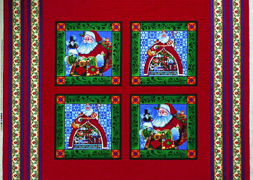 SP-3652 サンタクロースのクリスマスピローパネル/赤 110*90.5 未完成品 コットンプリント生地
