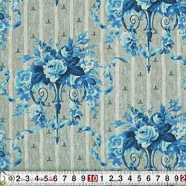 RJR-3281 壁に飾ったブルーのバラの花 グレー コットンプリント生地