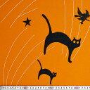 YW-3624 クロネコ、魔女、コウモリ ハロウィーンボーダー/オレンジ 110*59 コットンプリント生地