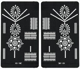 (ファンタジー) TheFantasy ヘナタトゥー グリッタータトゥー 用の ステンシルシート 左右セット 花 hs10