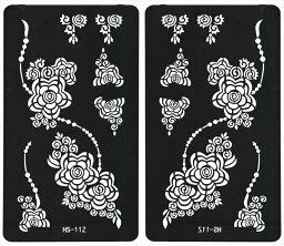 (ファンタジー) TheFantasy ヘナタトゥー グリッタータトゥー 用の ステンシルシート 左右セット 花 hs11