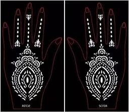 (ファンタジー) TheFantasy ヘナタトゥー グリッタータトゥー 用の ステンシルシート 左右セット 花 scf04