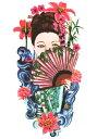 (ファンタジー) TheFantasy タトゥーシール タトゥーシール 舞子 和風美女 hb012 【中型・A5】