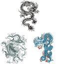 THE FANTASY タトゥーシール [3種3枚・A4] 龍 ドラゴン mq3010