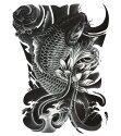 タトゥーシールタトゥーシール大型錦鯉波/wqa32