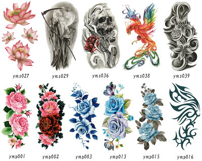 THE FANTASY タトゥーシール 選べる8枚セット 薔薇 鯉 鳳凰 虎 花 スカル 死神 バーコード ymp-s8 画像1