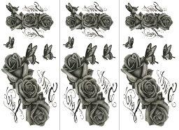 [THE FANTASY ファンタジー] タトゥーシール 薔薇 ymp019 [通常サイズ・3枚入り]