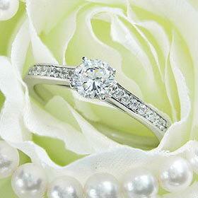 ダイヤモンド婚約指輪 サイズ直し一回無料 0.4ct D VVS1 EXCELLENT H&C 3EX 7両サイドメレ4本爪 プラチナ Pt900 婚約指輪(エンゲージリング)
