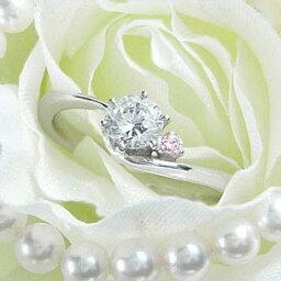 ダイヤモンド婚約指輪 サイズ直し一回無料 0.3ct E SI1 EXCELLENT H&C 3EX アンシンメトリーライン6本爪ピンクD1 プラチナ Pt900 婚約指輪(エンゲージリング)