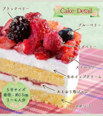 お取り寄せ(楽天) クリスマスケーキ 予約 2020 ミックスベリーホールケーキ 5号/15cm 価格2,900円 (税込)