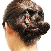 アンティーク風かんざし/押し花/こでまり/かんざし髪留め簪ヘアアクセサリーヘアアレンジ和柄和雑貨花チャーム付ピンクブルーグリーンイエロー四つ葉