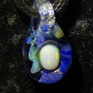 ペンダントガラスと宝石のコラボサマークールジュエリー天然ブラックオパール・ピンクオパールネックレス
