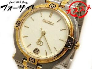 グッチ 時計 ☆ 9000M スレンレス コンビカラー デイト クリーム 文字盤 メンズ クォーツ 腕時計 GUCCI □2K