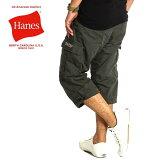 ヘインズ ハーフパンツ メンズ ひざ下 7分丈 クロップドパンツ カーゴパンツ 膝下 イージーパンツ hanes 夏 Sサイズ M L LL 黒 6449