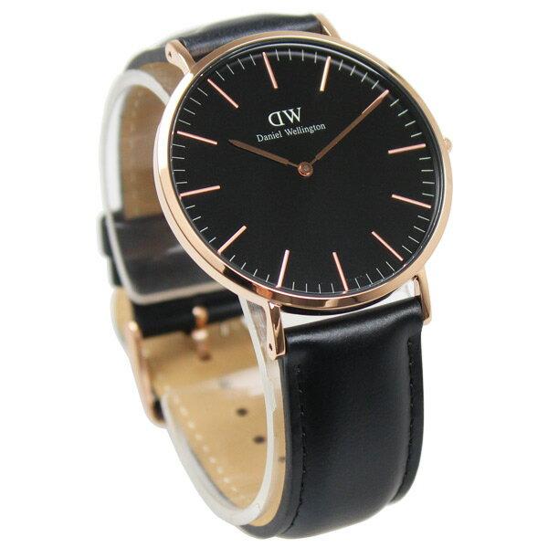 ダニエルウェリントン DANIEL WELLINGTON  Classic Sheffield black クラシック ブラック シェフィールド  レザー ベルト メンズ レディース 腕時計 40mm DW00100127【あす楽】