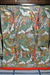 No.222豪華絢爛色打掛有名デザイナーブランド品美品[裄65、袖丈105、身丈(肩から)190センチ]【中古】