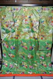 No.224豪華絢爛色打掛有名デザイナーブランド品美品[裄65、袖丈105、身丈(肩から)193センチ]【中古】