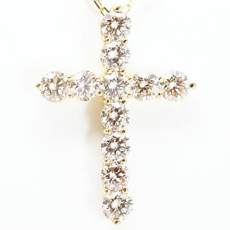 18金イエローゴール ダイヤモンド クロスペンダントネックレス