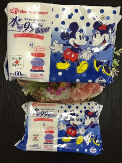 Water 99 %super wipes 60 sheets thick type package x 2 pieces Pack water 99% (99% water) on roofing akachan honpo