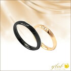 秘密のハートペアリングピンク&ブラックダイヤモンド0.015ctマリッジ結婚指輪ステンレス
