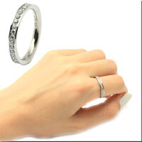 【刻印無料】フルエタニティリングCZダイヤ(キュービックジルコニア)ステンレスリング指輪