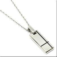 ペアクロスネックレスプレートIPダイヤモンド0.015カラットステンレス