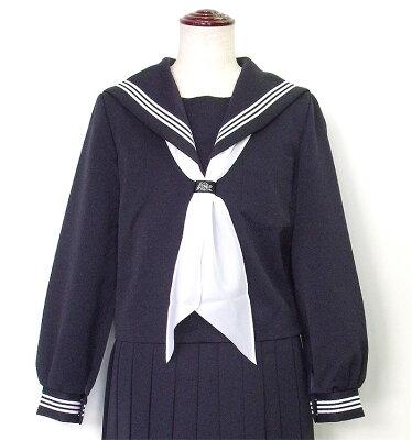 【セーラー服】富士ヨット紺セーラー・白三本線 大きいサイズ 白パータイ付き B体 【日本製】