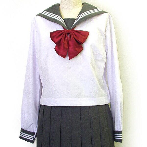 【セーラー服】クリオリ白セーラー(グレー衿・長袖)A体【日本製】
