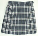 制服スカート【5351】W60〜72グレー白ピンクチェック柄