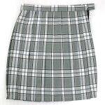 制服スカート【5353】W60〜72グレー白水色チェック柄