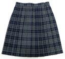 制服スカート【大きいサイズ】【KR277】W75〜85 KURI-ORIクリオリ 紺グレーチェック 丈54【ラッキーシール対応】