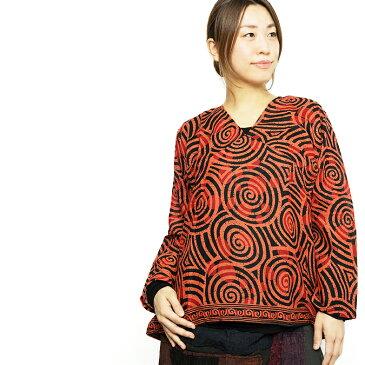 エスニック シャツ ブラウス レディース ぐるぐる柄 【エスニックファッション アジアンファッション エスニックシャツ レディースシャツ カジュアルシャツ オレンジ】