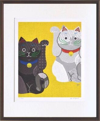 アートフレーム 米澤 彩 白黒招き猫