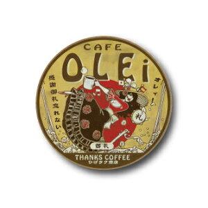 AM09 CAFE OLEi Thank you 32mm tin badge Nippon! Showa retro style postcard Masashi Anraku