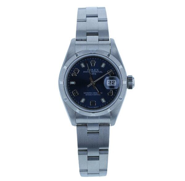 ロレックスオイスターパーペチュアルデイト79190シルバーステンレス腕時計レディースROLEX自動巻きブルー文字盤 中古