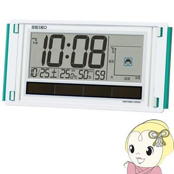 セイコークロック 掛置兼用時計 快適環境NAVI 電波 デジタル ハイブリッドソーラー 温度・湿度表示 白パール SQ436W【smtb-k】【ky】【KK9N0D18P】