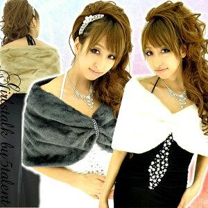 もこもこで上品★ふわふわフェイクファーのティペット★パールラインが可愛い♪ドレスを最高に可愛く見せる防寒具♪スヌードショール♪