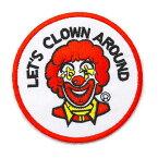 ワッペン アイロン パーティ パロディ Let's Clown Around ロナルド キャラクター 70年代 アップリケ わっぺん アイロンで簡単貼り付け