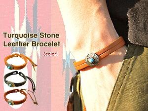 ネイティブデザインを強調したスキンレザーブレスレット。付けはずしも簡単紐で縛るだけ!3colo...