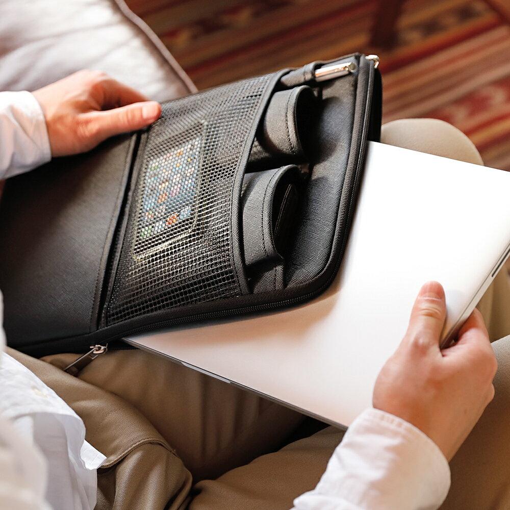 バッグインバッグ縦型本革収納リュック整理メンズドキュメントケースインナーバッグPCパソコンタブレットアクセサリクラッチ小物ビジネスカジュアル出張3WAYポケットキャリング周辺機器GOLDMENGA1901父の日
