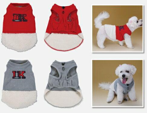 大特価!中型犬用 フリースウェア-プレーン- パイロットインキ ルッキー (LOOKY)  レッド グレー BC 暖かコレクション  犬 服 防寒