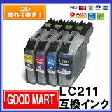◆送料無料◆【4色セット】LC211-4PKブラザーインク互換【メール便送料無料!!】【ポイント10倍】DCP-J963NDCP-J962NDCP-J762NDCP-J562NMFC-J880NMFC-J990DNMFC-J990DWNMFC-J900DNMFC-J900DWNMFC-J830DNMFC-J830DWNMFC-J730DNMFC-J730DWN