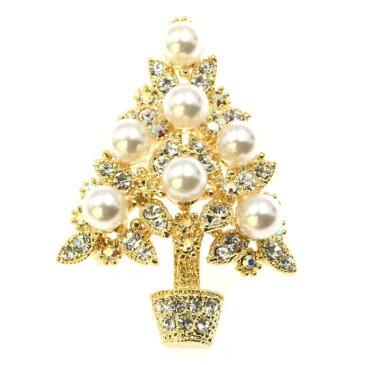 【 楽天スーパーSALE 10 %OFF 】 【 送料無料 】 ブローチ クリスマス X'mas クリスマスツリー スワロフスキー ゴールド モミの木 かわいい ギフト プレゼント 巾着袋 ポーチ ハロウィン