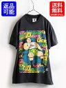 90's 人気の黒 USA製■91年製 面白 プリント 半袖 Tシャツ(メンズ 男性 M)半袖Tシャツ 90年代 古着 アメリカ製 コミック オタク ギーク SSI