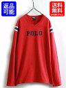 ボーイズ XL メンズS 程■POLO ポロ ラルフローレン ロゴプリント コットン 長袖 フットボールタイプ 長袖 Tシャツ(XL 20)古着 ロンT USED