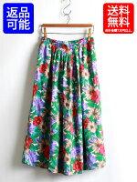 80sKORETFRANCISCAUSA製アメリカ製フレアロングスカート☆クラシック花柄レーヨンロング丈(L)古着レディースギャザースカート