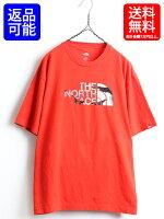 TheNorthface■ノースフェイスクルーネック迷彩ビッグロゴプリント半袖Tシャツ(男性メンズL)古着オレンジカモフラジュ|【US古着】古着屋中古アメリカ古着インナートップスカットソーアウトドア半袖TシャツプリントTシャツロゴT