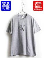 90's■CalvinKleinカルバンクラインCKロゴプリントコットン半袖Tシャツ(男性メンズL/XL)90年代古着半袖Tシャツ灰|【US古着】中古プリントTプリントTシャツトップスカットソーグレークルーネックロゴTカルバンクラインティーシャツ