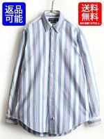 90'sオールド■ラルフローレンオックスフォードストライプ長袖ボタンダウンシャツ(男性メンズM)古着POLOポロ白青赤|【USA古着】中古RALPHLAUREN90年代ポニー刺繍長袖シャツオックスフォードシャツボタンダウンシャツブルーホワイトレッド